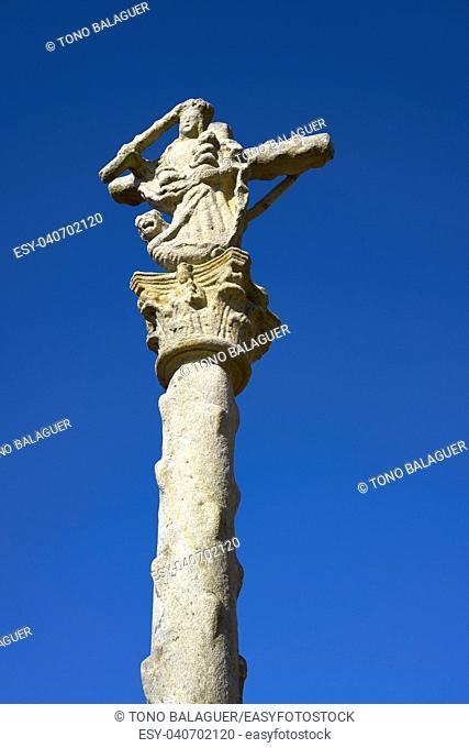 Combarro cross Galician village in Pontevedra at Galicia Spain