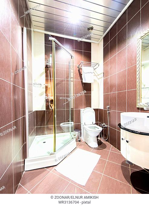 Modern bathroom interior in hotel