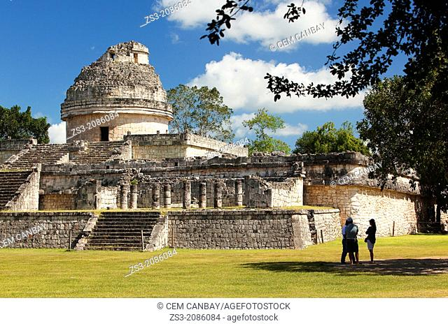 El Caracol, The Observatory Temple in prehispanic Mayan city of Chichen Itza Archaeological Site, Yucatan Province, Mexico, North America
