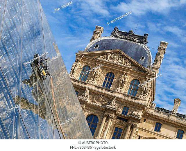 Glass pyramid in front of the Louvre, Paris, France
