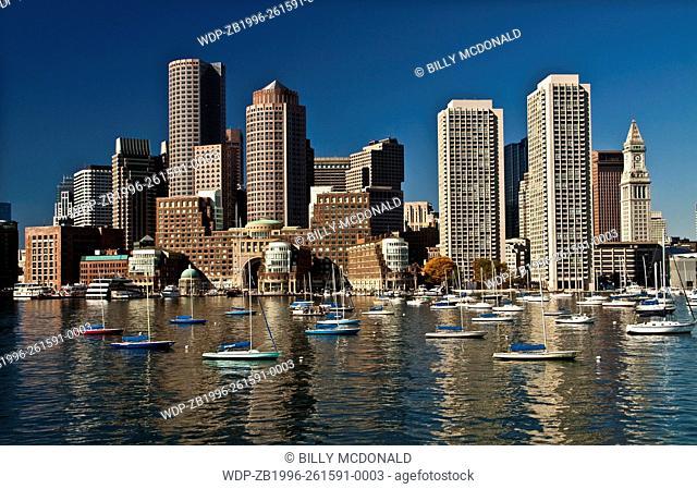 Small Sailboats Moored On Boston Harbor at The South Boston Waterfront ,Boston, Massachusetts, USA