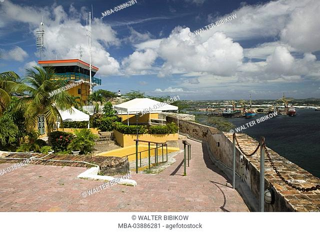 Curacao, Willemstad, fort Nassau, harbor-control, view, coast, lake, harbor, ships, ABC-Inseln, little one Antilles, Dutch Antilles Caribbean island...