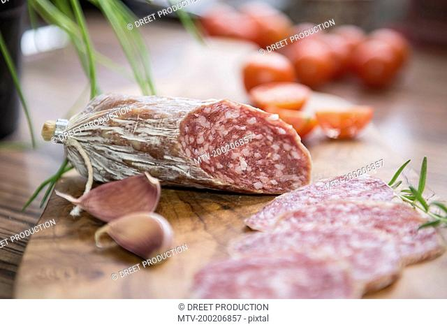 Close up of red sausage with garlic cloves, Germany