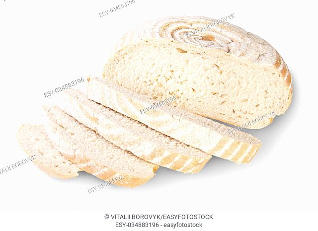 Unleavened Bread Sliced With Dill Seeds Isolated On White Background
