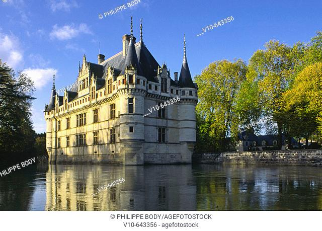 Castle of Azay-le-Rideau, built from 1518 to 1527 by Gilles Berthelot in Renaissance style, on the list of World Cultural Heritage sites of UNESCO