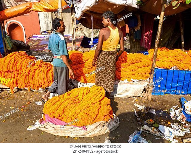 vendors at flowermarket in Kolkata or Calcutta in India