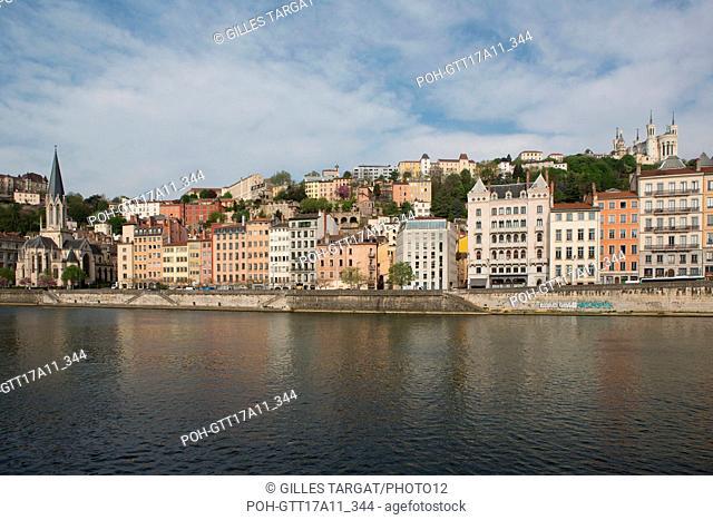 France, Lyon, Quays of the Saône River, Quai Fulchiron, Basilica of Notre Dame de Fourvière and Church Saint-Georges Photo Gilles Targat