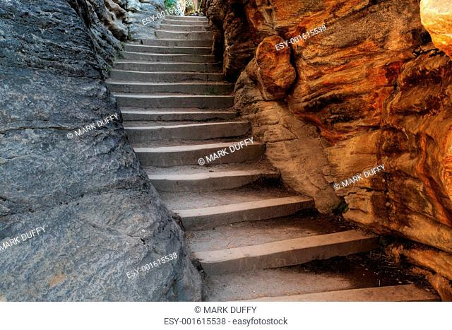 rock stairs at Athabasca Falls in Jasper National Park