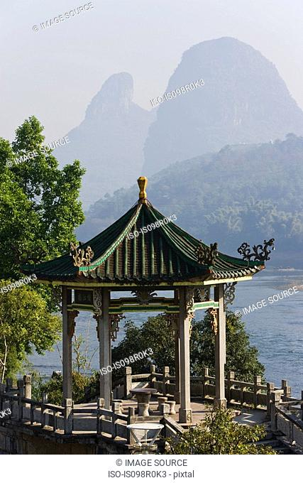 Temple and li river in yangshuo