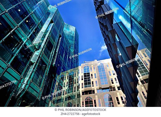 London England, UK. Modern office blocks on Moor Lane in the City
