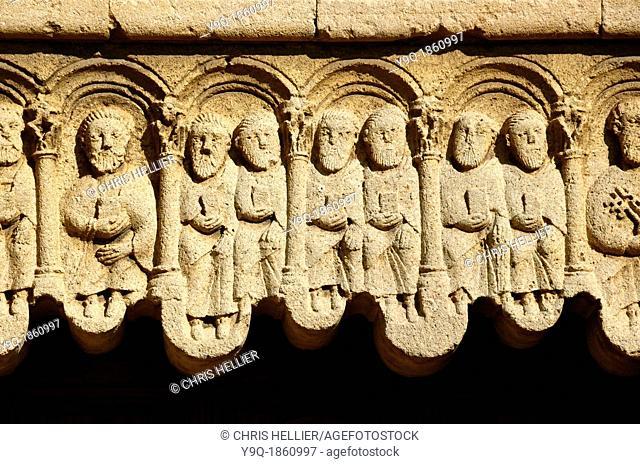 Twelve Apostles or Saints Holding Bibles Stone Carvings Gangobie Abbey Alpes-de-Haute-Provence Provence