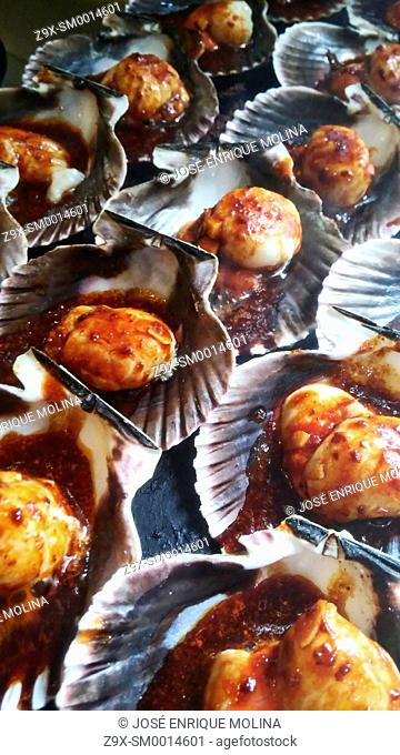 Peruvian food.Grilled scallops