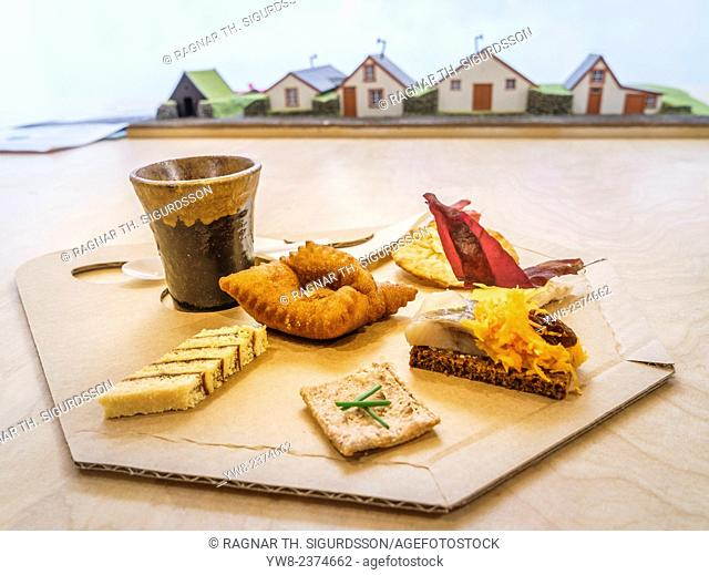 Traditional Icelandic snacks, model of Turf Farmhouse-Folk museum, Iceland