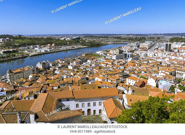 View of Mondego River with the City of Coimbra, Baixo Mondego, Centro Region, Portugal, Europe