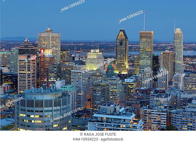Autumn, Canada, North America, Montreal, Quebec, architecture, city, colours, downtown, hill, landscape, skyline, skyscrapers, touristic, travel, evening, dusk
