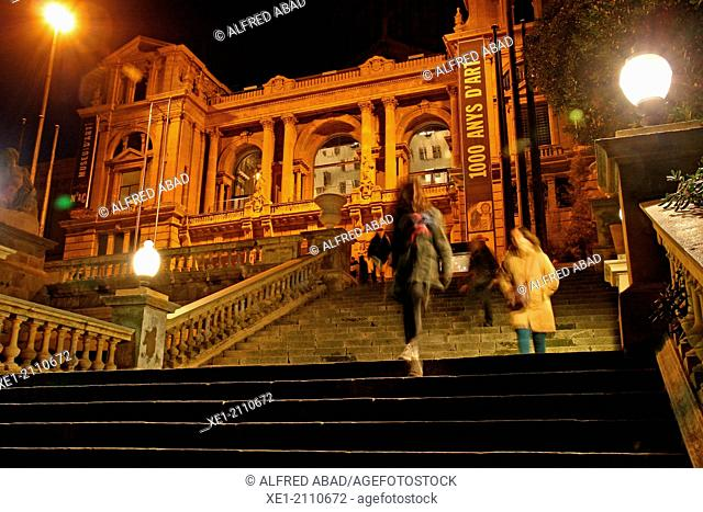 Stairs, night, Palau Nacional, 1929, MNAC, Montjuic, Barcelona, Catalonia, Spain