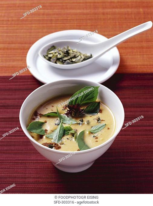 Pumpkin & coconut soup with cinnamon, Thai basil & ginger