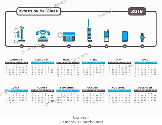 Calendar for year 2019 with phone technology icon graphic