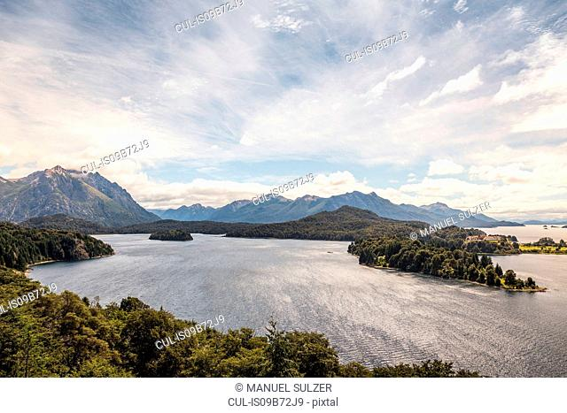 Landscape view of lake and mountains, Nahuel Huapi National Park, Rio Negro, Argentina