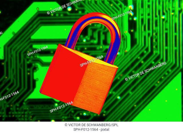 Padlock and a circuit board