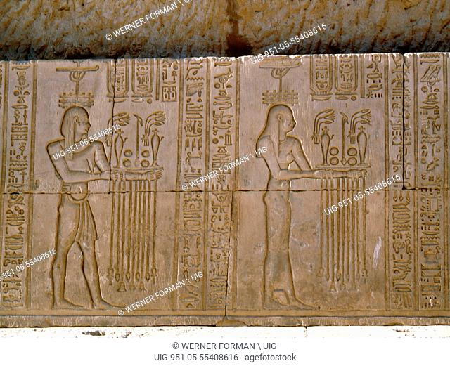 Temple reliefs and inscriptions at Kom Ombo