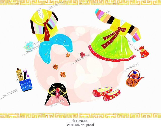 illustration of items representing Korean new year
