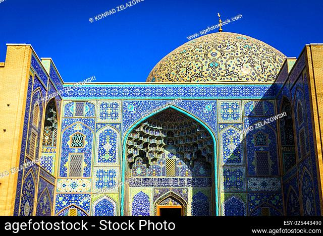 Dome and iwan of Sheikh Lotfollah Mosque in Isfahan city, Iran
