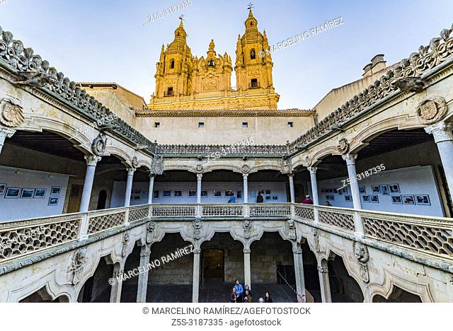 Cloister of the Casa de las Conchas - house of shells -, in the background the twin towers of the Iglesia de la Clerecia - Church of the Clergy