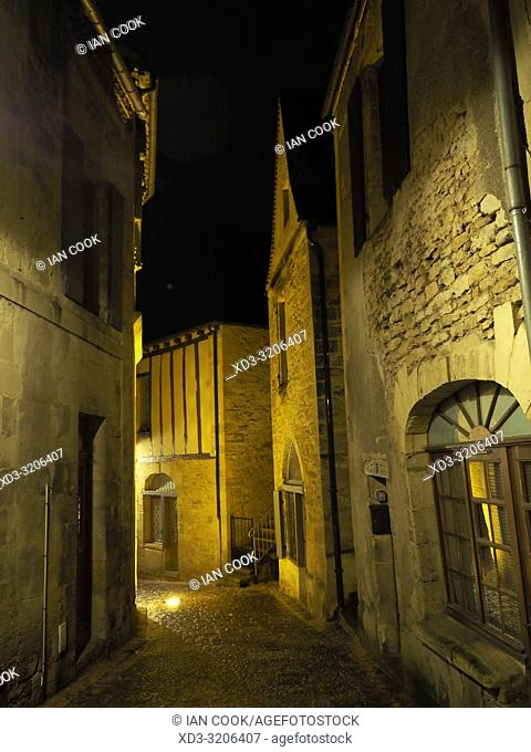 medieval streets at night, Sarlat-la-Caneda, Dordogne Department, Nouvelle-Aquitaine, France