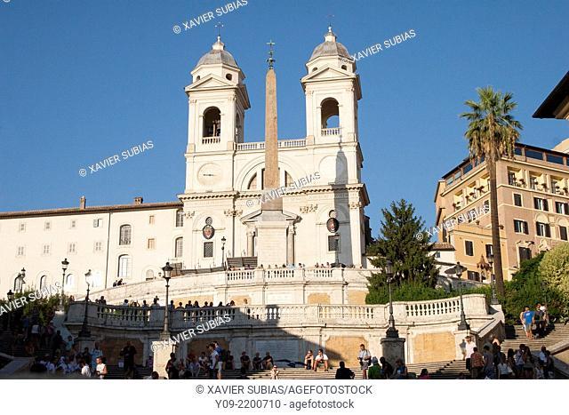 Santissima Trinità dei Monti, Piazza di Spagna, Spanish Steps, Rome, Lazio, Italy