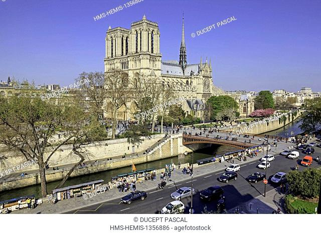 France, Paris, area listed as World Heritage by UNESCO, Notre Dame cathedral on the City island with book sellers on the left river banks