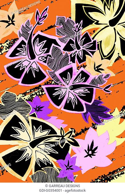 Contemporary hibiscus illustrations over orange background