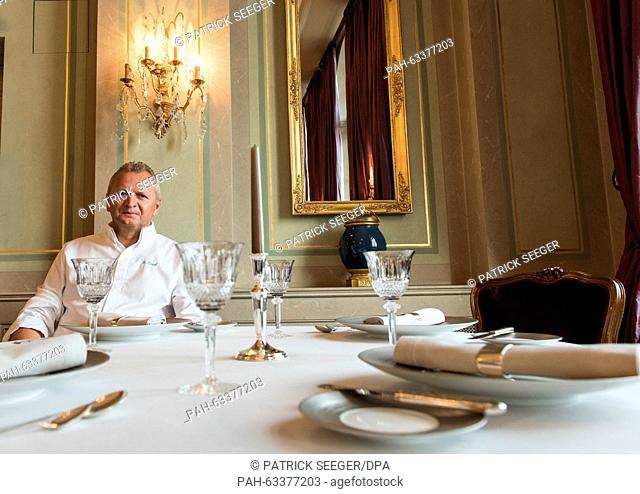 Chef Peter Knogl of the restaurant Cheval Blanc in the Les Trois Rois hotel poses in his restaurant inBasel,Switzerland, 03 November 2015