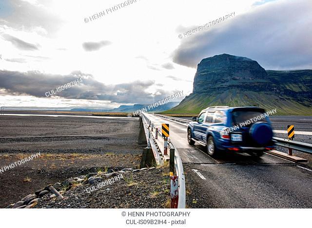 Vehicle on bridge over Skeidarasandur, south Iceland
