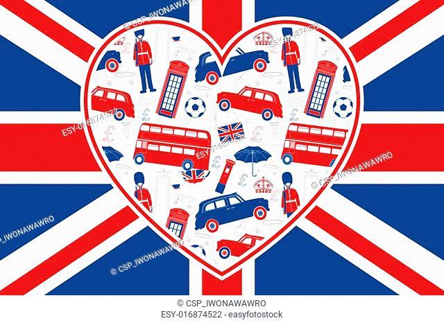 British flag - Heart - London icons