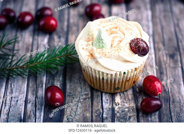 A winter apple and cranberry cupcake with cider and frosting