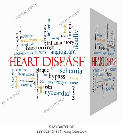 Heart Disease 3D cube Word Cloud Concept with great terms such as plaque, ischemia, factors and more