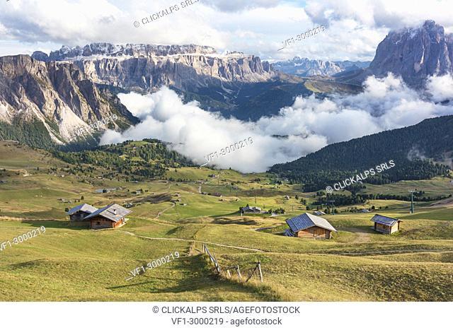 Seceda in a cloudy day, Val Gardena Valley, Dolomites, Trentino Alto Adige District, Italy
