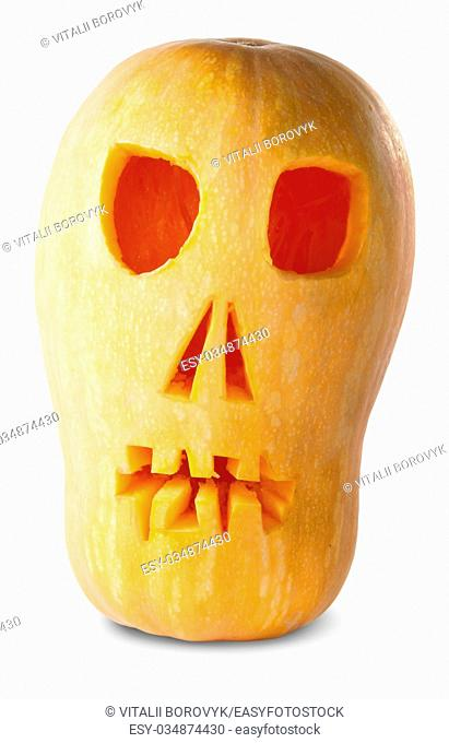 Skull Pumpkin Halloween Jack O'Lantern Isolated On White Background