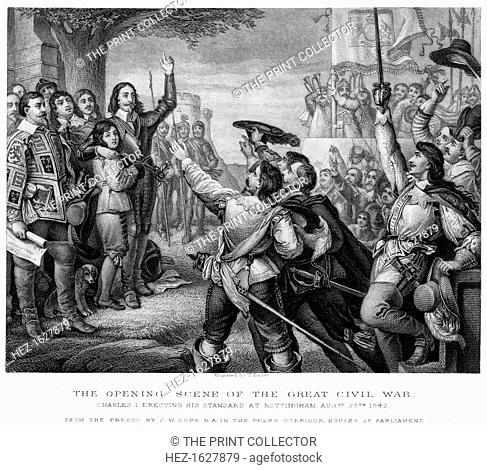 King Charles I (1600-1649) erecting his standard at Nottingham at the start of the English Civil War, 25th August 1642. Charles I was King of England