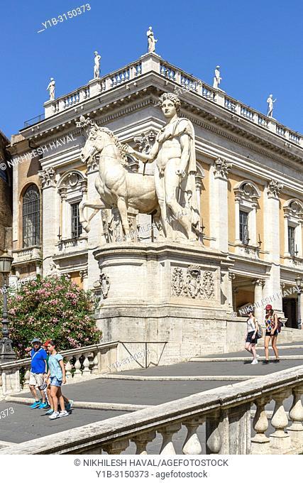 Tourists walking down Cordonata, Capitoline Hill, Campidoglio, Rome, Italy