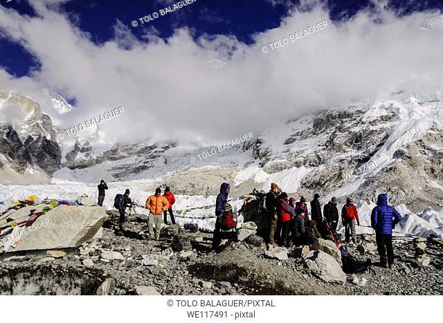 Everest Base Camp Khumbu glacier Sagarmatha National Park, Khumbu Himal, Nepal, Asia