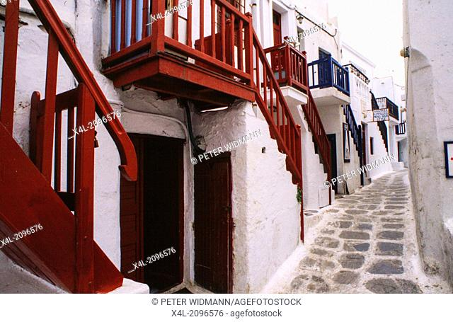 narrow street with staircases, Greece, Cyclade Islands, Mykonos