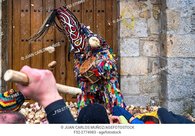 Villagers throwing turnips at Jarramplas, Carnival, Piornal, Jerte Valley, Cáceres province, Extremadura, Spain, Europe