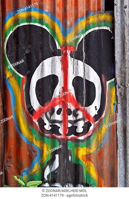 Graffito eines Killer Pandas, Thailand, Südostasien Graffito of a killer panda, Thailand, Southeast Asia