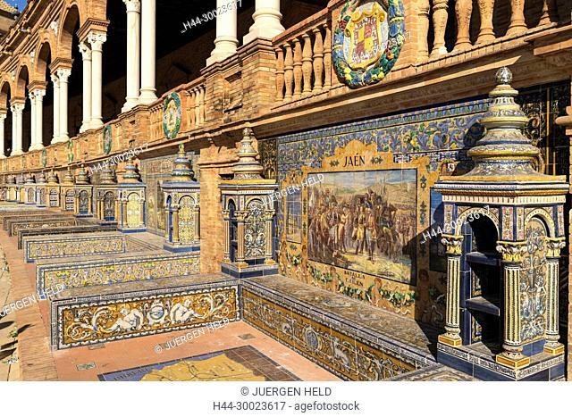 Antique ceramic, wall tiles representing provinces and cities of Spain , Jaen, Placa de Espana, spanish square, Seville, Andalusia, Spain
