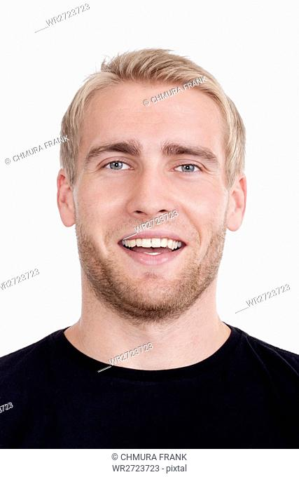 blond, boy, casual, Caucasian, eyes, face, guy, hair, handsome, head, isolated, looking, male, man, model, person, portrait, smile, smiling, studio, white