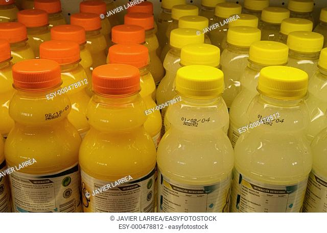 Hypermarket, juice bottles