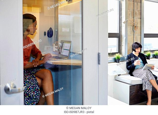 Young woman in office phone booth, using laptop, colleague sitting outside