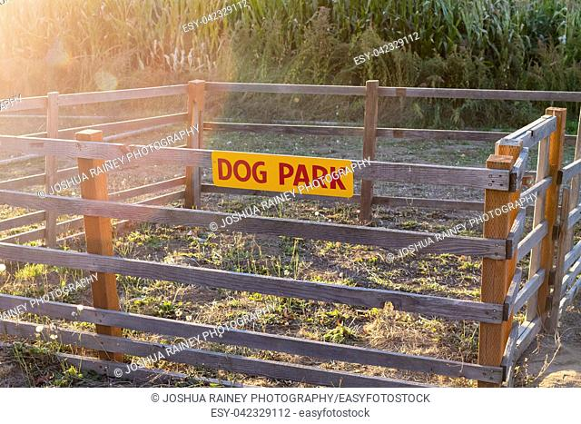 Very small and impractical dog park with a fence around it to house pets at Detering Organic Farm near Eugene Oregon during the Fall